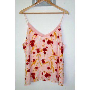 Luv Boho Floral Tank Top Size 14 Medium Pink V-neck Sleeveless Spring Summer